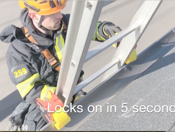 Fire and Rescue using Lock Jaw Ladder Grip to stabilize the ladder and improve height safety