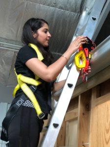 Solar Installer use Lock Jaw Ladder Grip