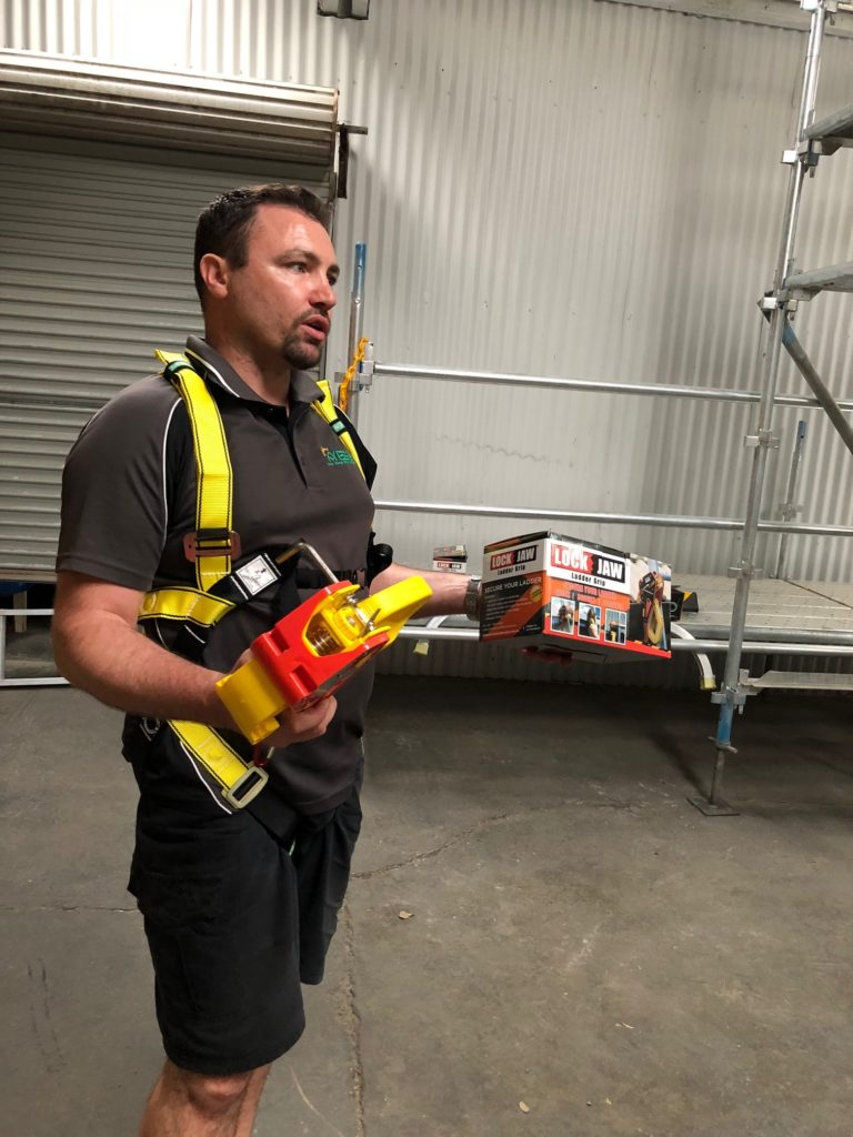 The Solar School Training with Lock Jaw Ladder Grip. Keeping safe is an important factor in construction safety