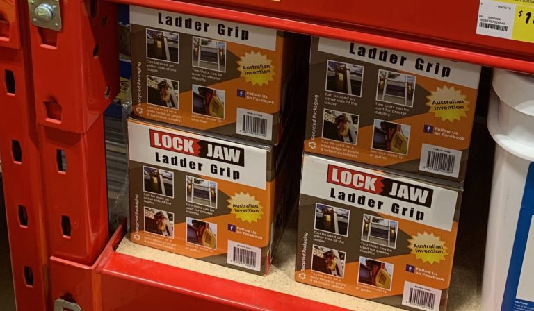 Lock Jaw Ladder Grip on Bunnings Shelves. It is used to clamp onto gutters to prevent falls.